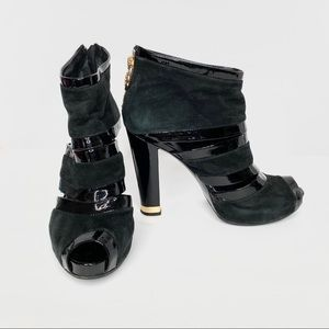 Tory Burch Black Suede Patent Leather Booties